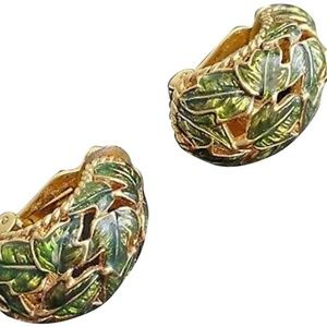Green/Gold Vintage Enameled Leaves Earrings
